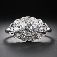 1.05 Carat Art Deco Diamond Engagement Ring - 10-1-5679 - Lang Antiques