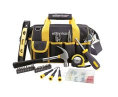 The Essentials 32-Piece Tool Set features an 18-pocket, zip-up tool bag with a shoulder strap for comfort. This Essentials tool set includes pliers, an adjustable wrench, hammer, level, screwdrivers and more. | eBay!