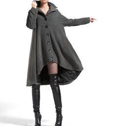 Lana gris de botonadura simple capa abrigos asimetría por MaLieb, $179,00