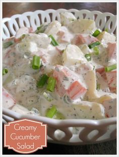 Jam Hands: Creamy Cucumber Salad } I'd like to try with half Greek yogurt or maybe all yogurt