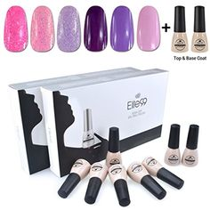 Elite99 Soak Off UV LED Gel Nail Polish 6 Colors Lacquer with Base Top Coat Manicure Pedicure Nail Art Decoration C058 *** Want to know more, click on the image. (This is an affiliate link and I receive a commission for the sales)