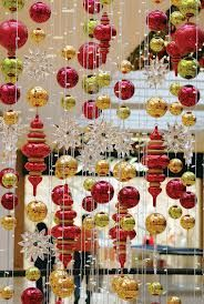 hanging christmas decor clusters in tent in any color combination