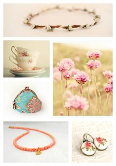 Monday Moodboard : Flowers #flower #floral #handmade #jewelry #necklace #coral #gold #wedding #photo #earrings #purse #cup #tea