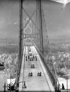 1938 Opening day of the Lions ' s Gate Bridge, Vancouver BC. Richmond Vancouver, Vancouver Bc Canada, Vancouver British Columbia, Vancouver Island, West Coast Canada, Lions Gate, Travel Memories, Old City, Canada Travel