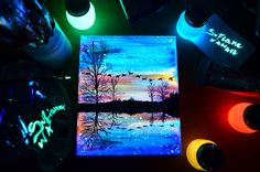 Sunset&Ducks - Glow in the dark 25x30cm - Original Painting by Sufiane WallArt by SufianeWallArt on Etsy https://www.etsy.com/listing/499751125/sunsetducks-glow-in-the-dark-25x30cm