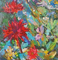 "Saatchi Art Artist Inna Kulagina; Painting, ""Dahlias of a Wild Garden of August..."" #art"