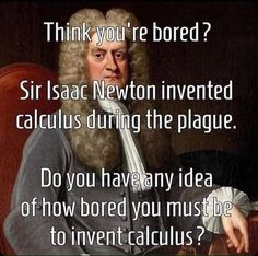 Think you're bored? Sir Isaac Newton invented calculus during the plague. Do you have any idea of how bored you must be to invent calculus? Funny Shit, Really Funny Memes, Stupid Funny Memes, Funny Relatable Memes, Haha Funny, Funny Posts, Funny Quotes, Funny Stuff, Hilarious Sayings