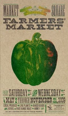FARMERS MARKET Bell PEPPER Hand Printed by PioneerHouse on Etsy, $30.00