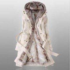 Solid Fleece Zipper Closure Hooded Coat