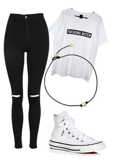 """I'm back to my old ways"" by professorjuliet ❤ liked on Polyvore featuring Converse and Topshop"