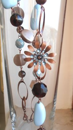reseved for R. Long necklace 1950s style retrò enamel flower with stones, smoky quartz, OOAK, free shipping