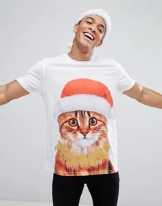 da75c22b22 Asos Holidays Longline T-Shirt With Cat Print   Glitter Effect