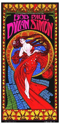 Bob Dylan & Paul Simon Art Nouveau Psychedelic Concert Poster. $25.00, via Etsy.