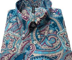 Mens New Paisley Shirt retro Long sleeves 60s 70s Mod Indie Vtg Relco
