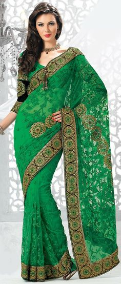 Parrot #Green Net #Saree With Blouse @ $123.28