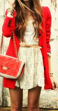 Beautiful lace floral detail dress and red cardigan