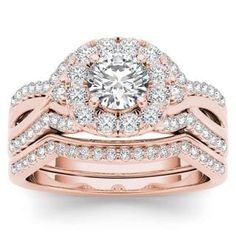 De Couer 14k Rose Gold 1 1/4ct TDW Diamond Halo Engagement Ring Set with One Band - Pink