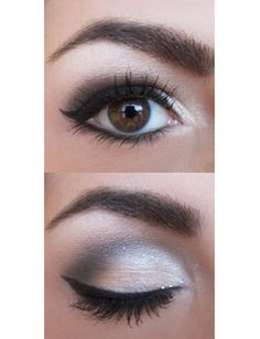 white and black smoky eye