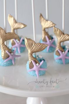 Custom Cake Pops for any occasion by Charity Fent Cake Design. Cake pops are great for Birthdays, Weddings, Baby Showers and any other special celebration. Mermaid Party Food, Mermaid Birthday Cakes, Little Mermaid Birthday, Little Mermaid Parties, Mermaid Party Decorations, Mermaid Cake Pops, Little Mermaid Cakes, The Little Mermaid, Mermaid Baby Showers