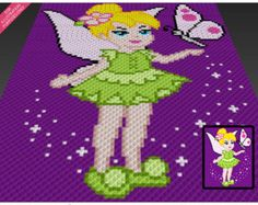 Tinkerbell crochet blanket pattern; knitting, cross stitch graph; pdf download; pixie, fairy; no written counts or row-by-row instructions