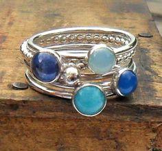 Ocean Six Sterling Silver Stacking Gemstone Rings £96.00