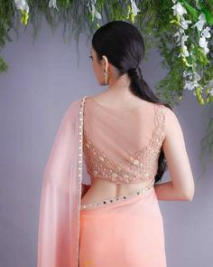 Top 30 Latest And Trendy Blouse Designs For Back Neck Blouse Back Neck Designs, New Saree Blouse Designs, Netted Blouse Designs, Blouse Designs Catalogue, Fancy Blouse Designs, Bridal Blouse Designs, Indian Blouse Designs, Net Saree Blouse, Saree Blouse Patterns