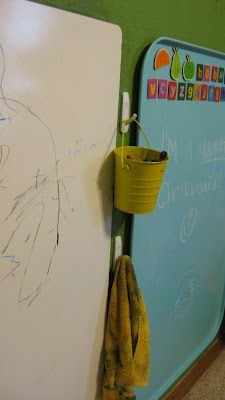 Gs Room: Hang buckets of stuff from command hooks Diy Organization, Classroom Organization, Classroom Decor, Guest Bedroom Decor, Kids Bedroom, Oil Drip Pans, Daycare Ideas, Playroom Ideas, Basement Ideas