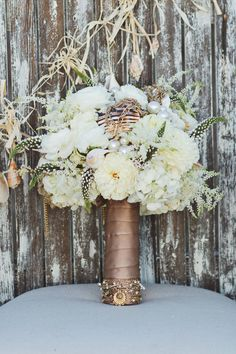 Gorgeous cream and gold bouquet. Perfect for a winter wedding that's not Christmas-y Bronze Wedding, Gold Wedding, Dream Wedding, Autumn Wedding, Gold Bouquet, Nautical Wedding Inspiration, Winter Wedding Inspiration, Bridal Flowers, Wedding Styles