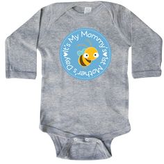 1st Mothers Day Baby Boy Gift Long Sleeve Creeper Heather Grey $21.99 www.homewiseshopperkids.com