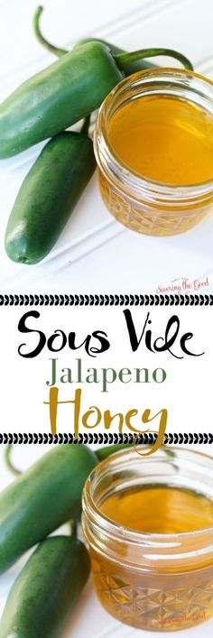 Jalapeno honey is the perfect balance of heat and sweet. Easily infuse jalapeno honey with the help of sous vide in hours, instead of weeks. Start with this hot honey infusion recipe and you will be inspired to create other infused honeys. Try this infused honey in cocktails, poured over cheese or drizzled on pizza. #infusedhoney #sousvide #sousviderecipe #hothoney