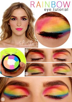 rainbow eye shadow tutorial... would be perfect for a festival!