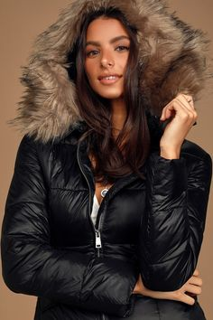Hit the slopes in style in the Ski Lift Black Faux-Fur Lined Hooded Puffer Jacket! Quilted puffer jacket with removable faux-fur lined hood and fitted bodice. Moncler Jacket Women, New York Outfits, Faux Fur Jacket, Fur Coat, Puffer Jackets, Winter Jackets, Jackets For Women, Ski Lift, Salmon Recipes