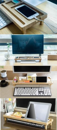 Bamboo Desktop Organizer Over the Keyboard