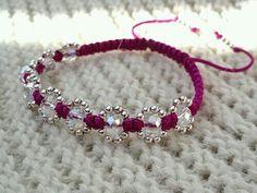 Purple Shamballa bracelet with Glass Crystal Beads and Silver Plated Beads; Looks like simple macramé. Macrame Jewelry, Macrame Bracelets, Handmade Bracelets, Jewelry Bracelets, Jewelery, Handmade Jewelry, Bracelet Crafts, Jewelry Crafts, Crystal Beads