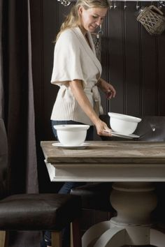 One bowl meal. Painted Chairs, Painted Furniture, Table And Chairs, Dining Table, Dining Room, Big Cup Of Coffee, Wood Pedestal, Lets Stay Home, French Country Decorating