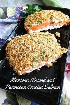 Marcona Almond And Parmesan Crusted Salmon | Living Linda