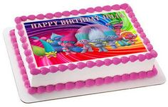 Trolls Edible Birthday Cake Topper OR Cupcake Topper, Decor