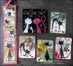 A set of ATCs, bookmark and playing cards for Katzelkraft - Les folies de Coco...