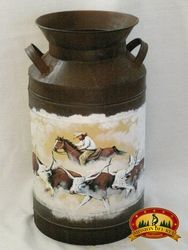 "Rustic Hand Painted Western Milk Can 18"" -Cattle Drive  (5)"