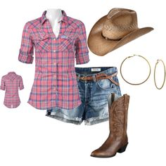 Love this outfit, used to have it.... but no pink for me! My shirt was blue and green. =) Country Girl, created by brandy-bozeman-dyess on Polyvore
