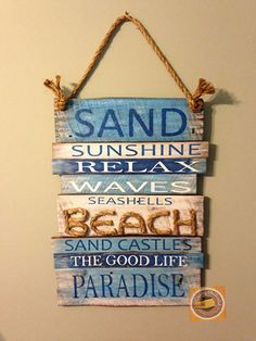 It is a great Blue Beach Plank wood sign that will look gorgeous with your beach decor or home decor. This handmade rustic sign with rope accent is made from reclaimed wood and it is all hand crafted by me. About this listing: Sign measures 25 tall x 18 wide (approximately).