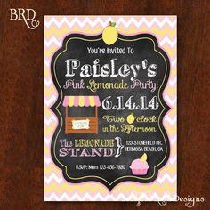 Pink Lemonade Party Invitation Pink by BradfordRoadDesigns on Etsy, $15.00