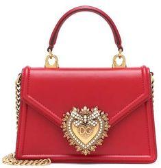 Shop Dolce & Gabbana Devotion Leather Shoulder Bag and save up to EXPRESS international shipping! Dolce & Gabbana, Dolce And Gabbana Handbags, Leather Pouch, Calf Leather, Leather Shoulder Bag, Designer Shoulder Bags, Emblem, Patent Leather Pumps, Small Shoulder Bag