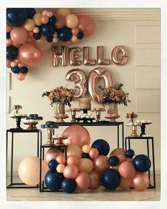 30th Birthday Themes, 30th Birthday Ideas For Women, Birthday Balloon Decorations, Birthday Balloons, Birthday Bash, Wedding Decorations, 30th Party, Confetti Balloons