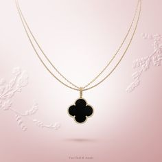 Van Cleef & Arpels Magic Alhambra 1-motif long necklace #VCAalhambra - Yellow gold, onyx -