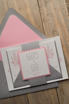 HADLEY Suite Romantic Package, cute pink and grey wedding invitations, two color letterpress, floral wedding invitations, rustic wedding invitations, barn wedding