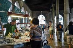 A huge part of the Rialto market is devoted to seafood and it's under a covered colonnade
