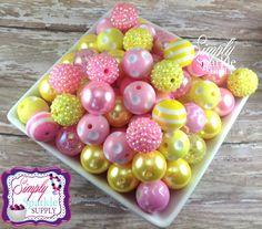 Pink & Yellow Bulk lot 100 Pink Lemonade chunky bead mix solids dots and rhinestones 20 mm wholesale chunky beads