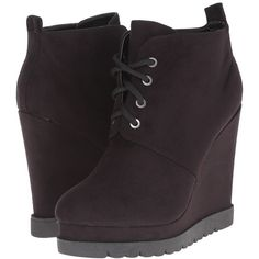 Michael Antonio Camille Women's Lace-up Boots (515 NOK) ❤ liked on Polyvore featuring shoes, boots, ankle booties, ankle boots, platform wedge booties, lace up wedge bootie, wedge boots and wedge booties