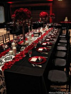 black and white table setting, black and white wedding decor reception, red flower arrangement, red flower centerpiece by evelyn.gonzalez.75...